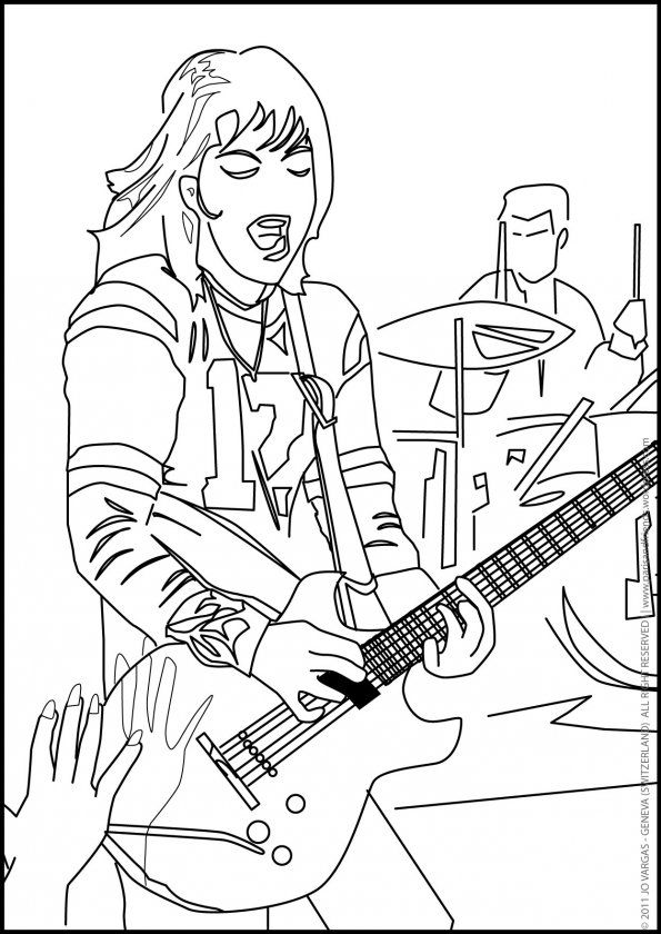Coloring Page For Real Kids Joan Jett And Her Gibson Melody Maker Electric Guitar Gibson Melody Maker Joan Jett Kid Rock