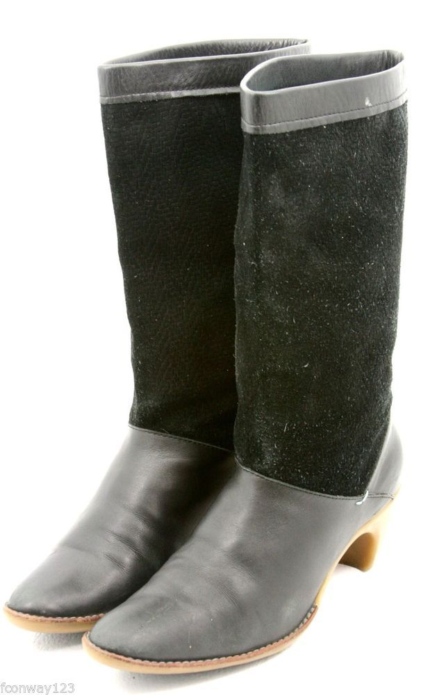 Lacoste Womens Mid Calf Designer Dress Boots Size 8 Black Leather