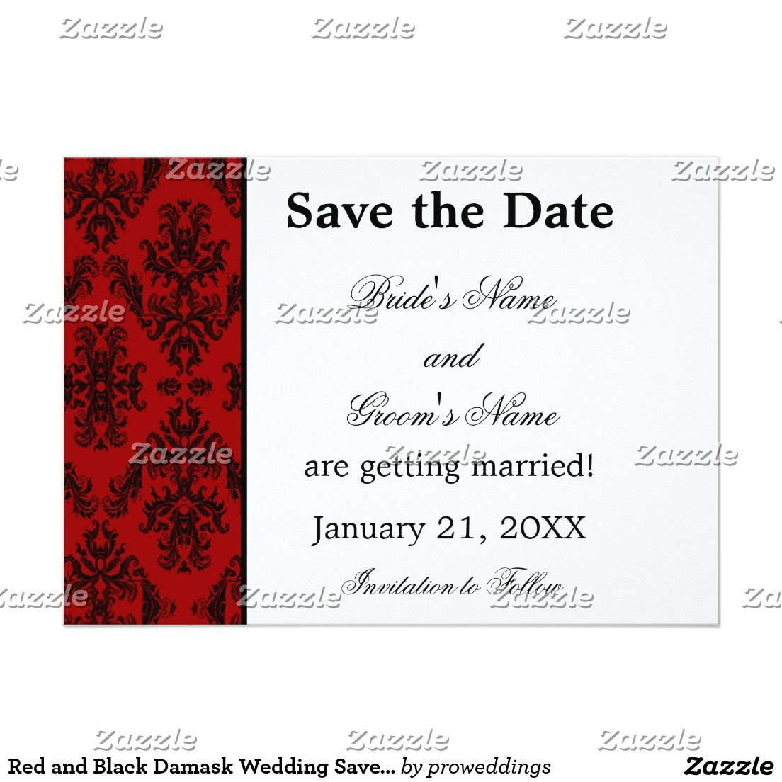 Red and Black Damask Wedding Save the Date Card | Damask wedding and ...