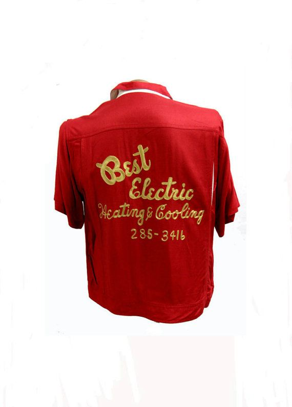 Mens Bowling Shirt Vintage Best Electric Heating And Cooling Red
