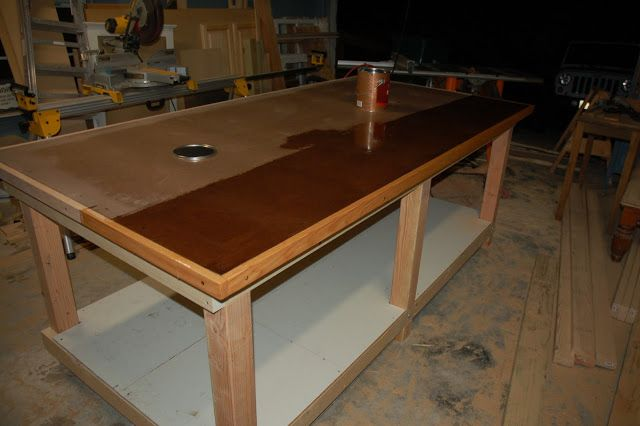 Workbench Build Mdf And Hardboard Top With Oak Edges