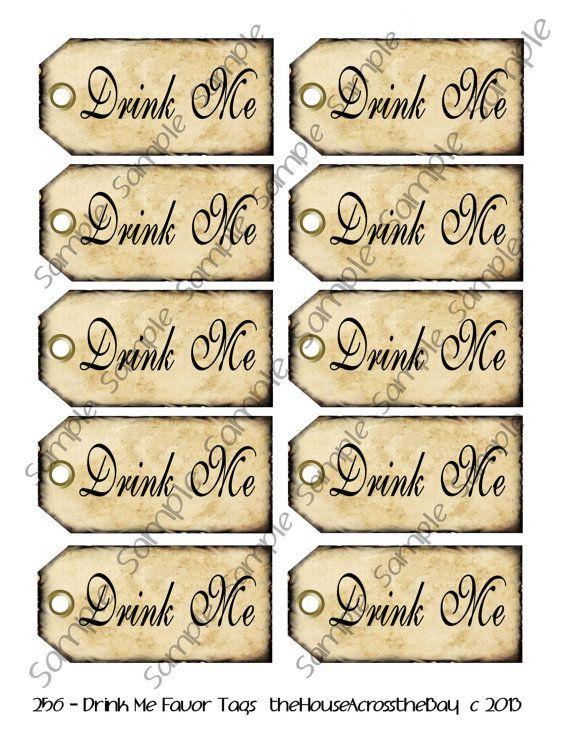 Drink Me Favor Tags Grunge Edging Alice In Wonderland Printable Instant Download Digital Collage She