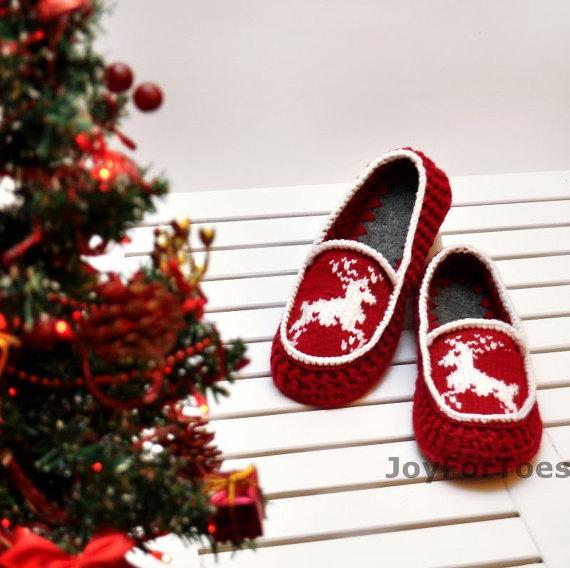 Crochet Slippers Christmas in July gift Xmas decor Knitted Deer ...
