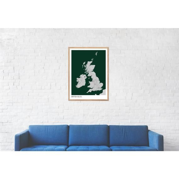 British Isles (Britain) Map Print - Many Colours - Fast Delivery - Scandi // Vintage // Retro // Min #britishisles