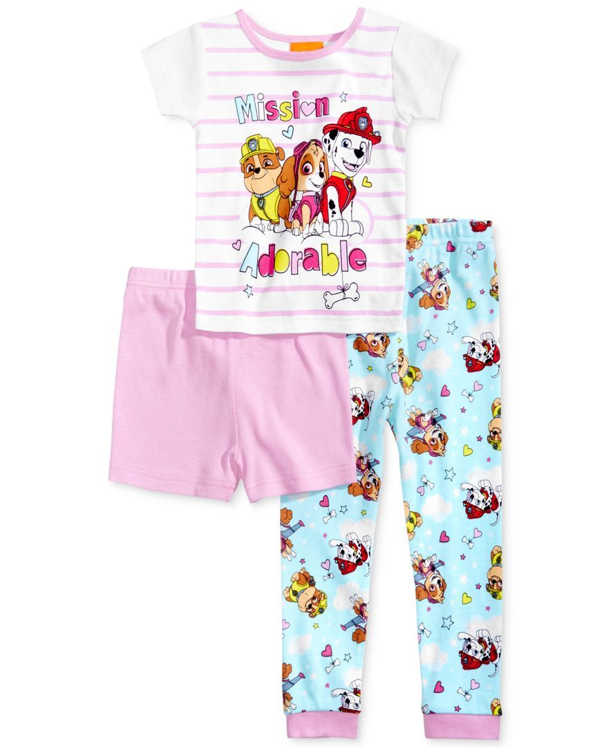 Paw Patrol Little Girls Puppy Love 3pc Pajama Pant Set