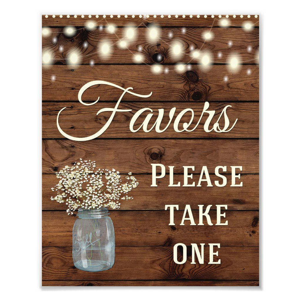 Rustic Country Favors Wedding Sign | Zazzle.com
