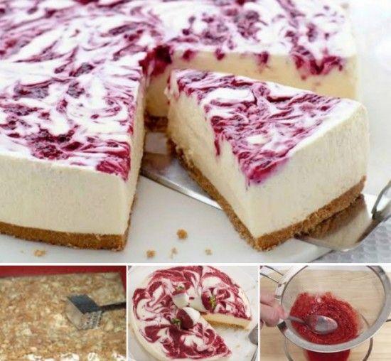 No Bake White Chocolate and Raspberry Cheesecake