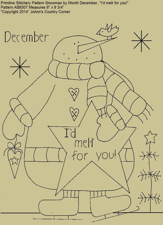 Primitive Stitchery E-Pattern Snowman by Month December | embroidery ...