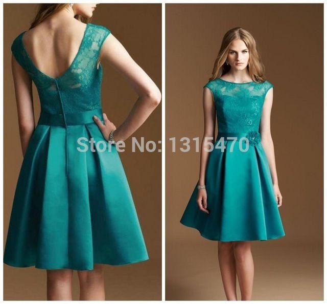 Lace manga da dama de honra vestidos de alta qualidade cetim abrir voltar joelho de comprimento curto vestido para casamentos de linha