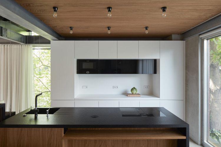 minimalistische einrichtung beton holz moderne küche wiess schwarze ...