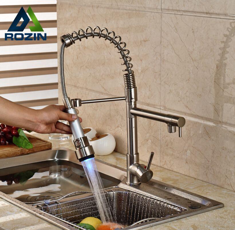 Super Led Color Changing Dual Spout Spring Kitchen Sink Faucet Home Interior And Landscaping Palasignezvosmurscom