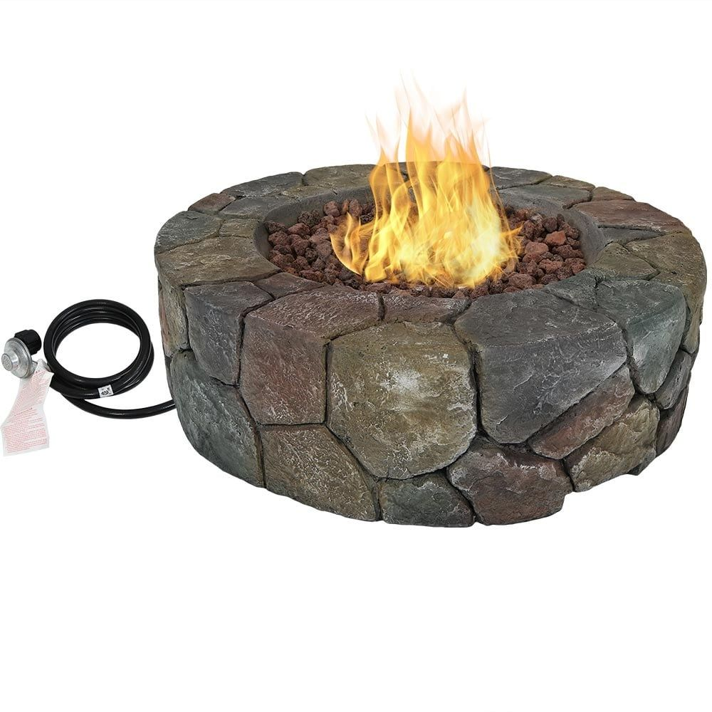 Sunnydaze Cast Stone Outdoor Propane Gas Fire Pit With Lava Rocks 30 Inch Gas Fires Fire Pit Backyard Outdoor Propane Fire Pit