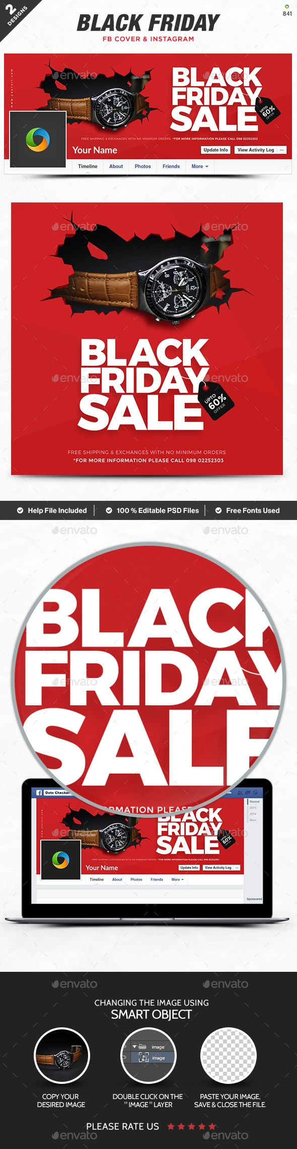 Black Friday Facebook Cover Instagram Templates