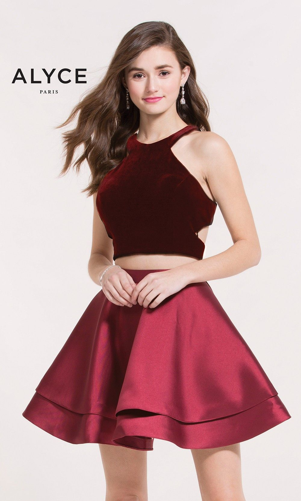 Alyce 2648 Wine Red Velvet Two-Piece Short Dress | Homecoming dance ...
