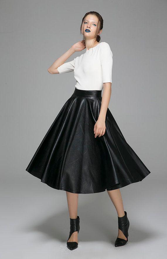 61fbdaa31c Black PU skirt maxi skirt long winter skirt 1388 by xiaolizi ...
