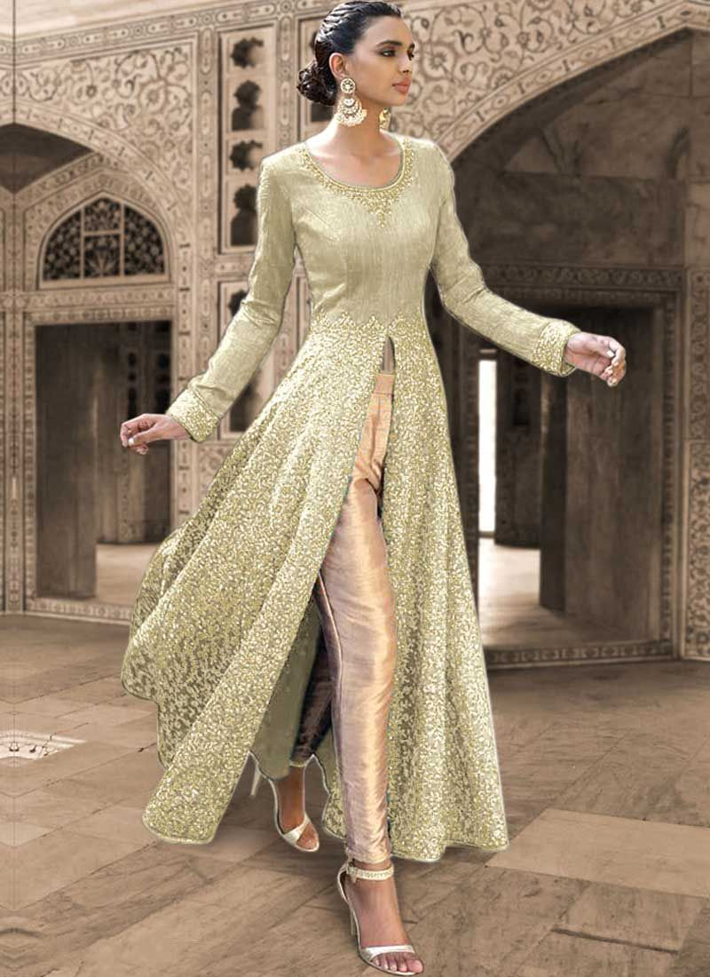 Beige Embroidery Work Lace Border Work Bhagalpuri Silk Party Wear ...