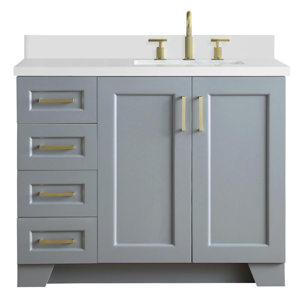 Ariel Taylor 43 In W X 22 In D Bath Vanity In Grey With Quartz