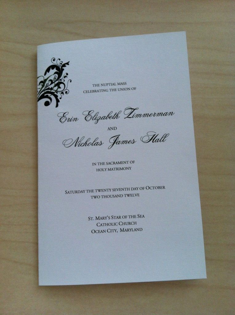 free catholic wedding program template
