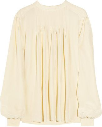 b9a3f17ced34a3 ShopStyle: See by Chloé Pleated hammered-silk blouse   POET BLOUSES ...