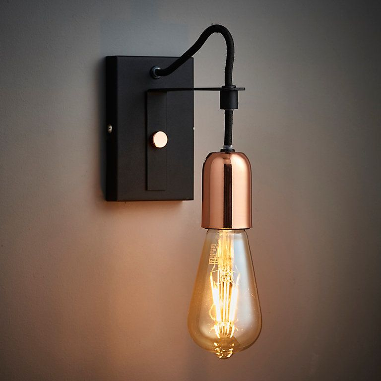 Detroit Black Copper Single Wall Light B Q For All Your Home And Garden Supplies And Advice On All The Latest Wall Lights Diy Wall Lights Copper Wall Light