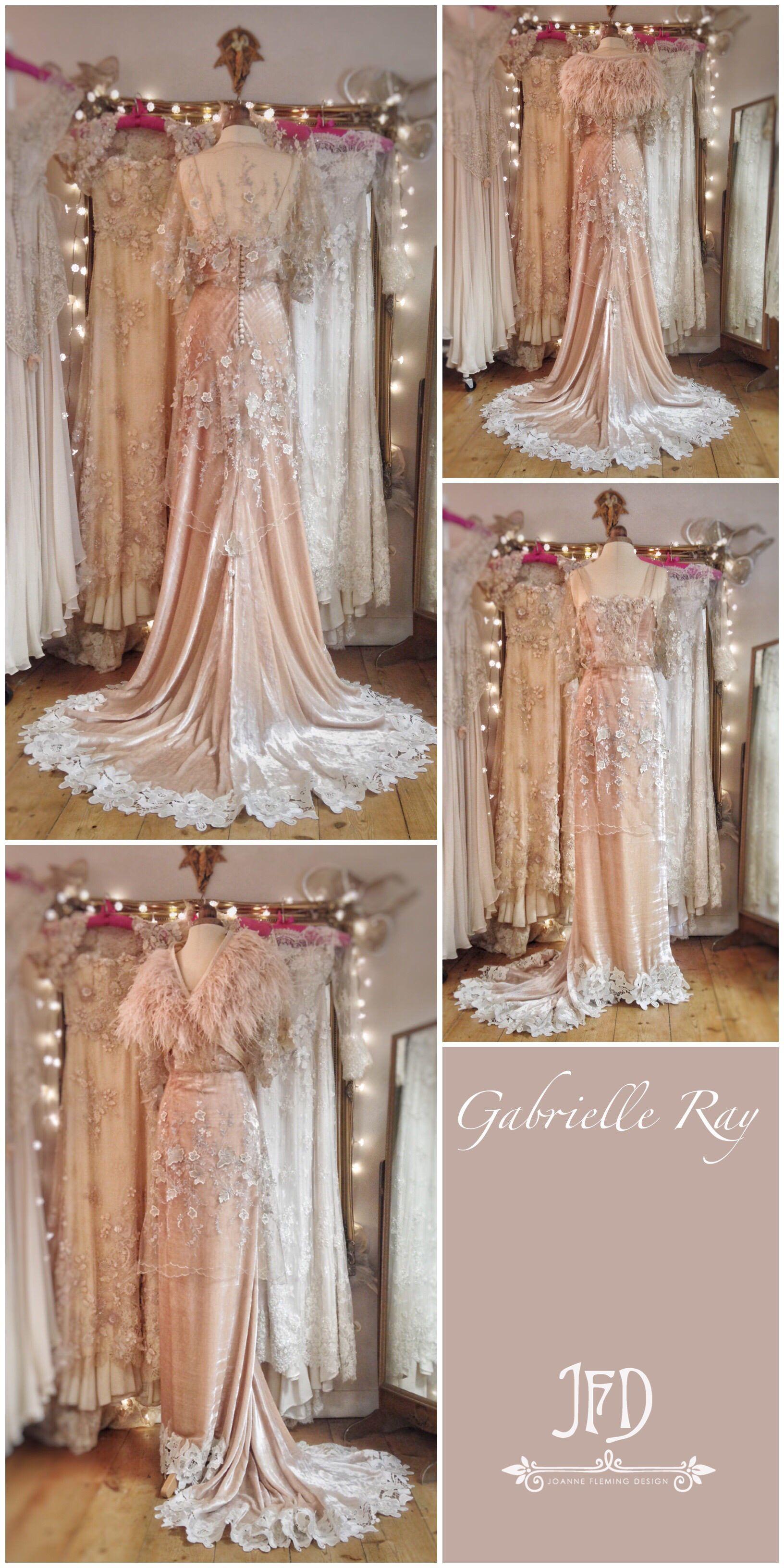 df65c817f6e Champagne blush silk velvet and embroidered tulle Belle Epoque inspired  wedding dress by Joanne Fleming Design
