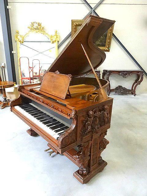 19th century walnut piano. #EuropeanAntiques #AntiquePianos