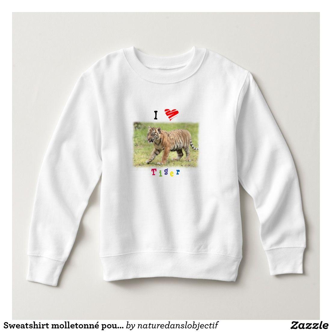 Fleece-lined Sweatshirt for child. Photo tiger
