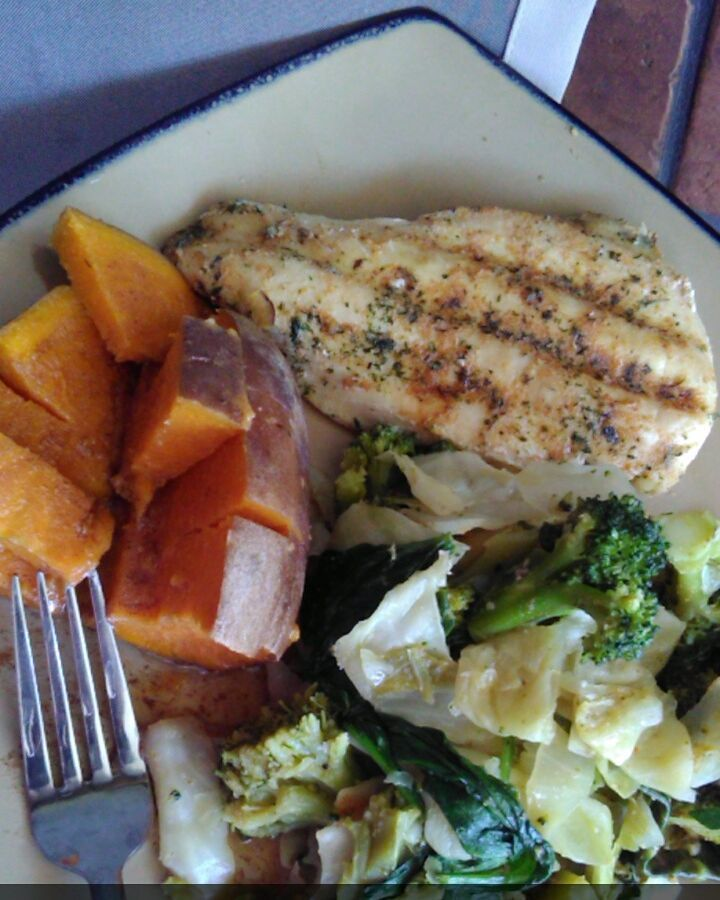 Roasted Sweet Potatosteamed cabbage & broc Grilled Chicken Breast by liv_aesthetic