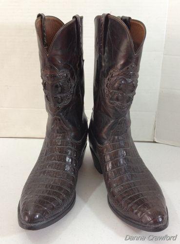 4ecb0ba1270 Dark Brown LUCCHESE Leather Alligator Skin Cowboy Boots Men's ...