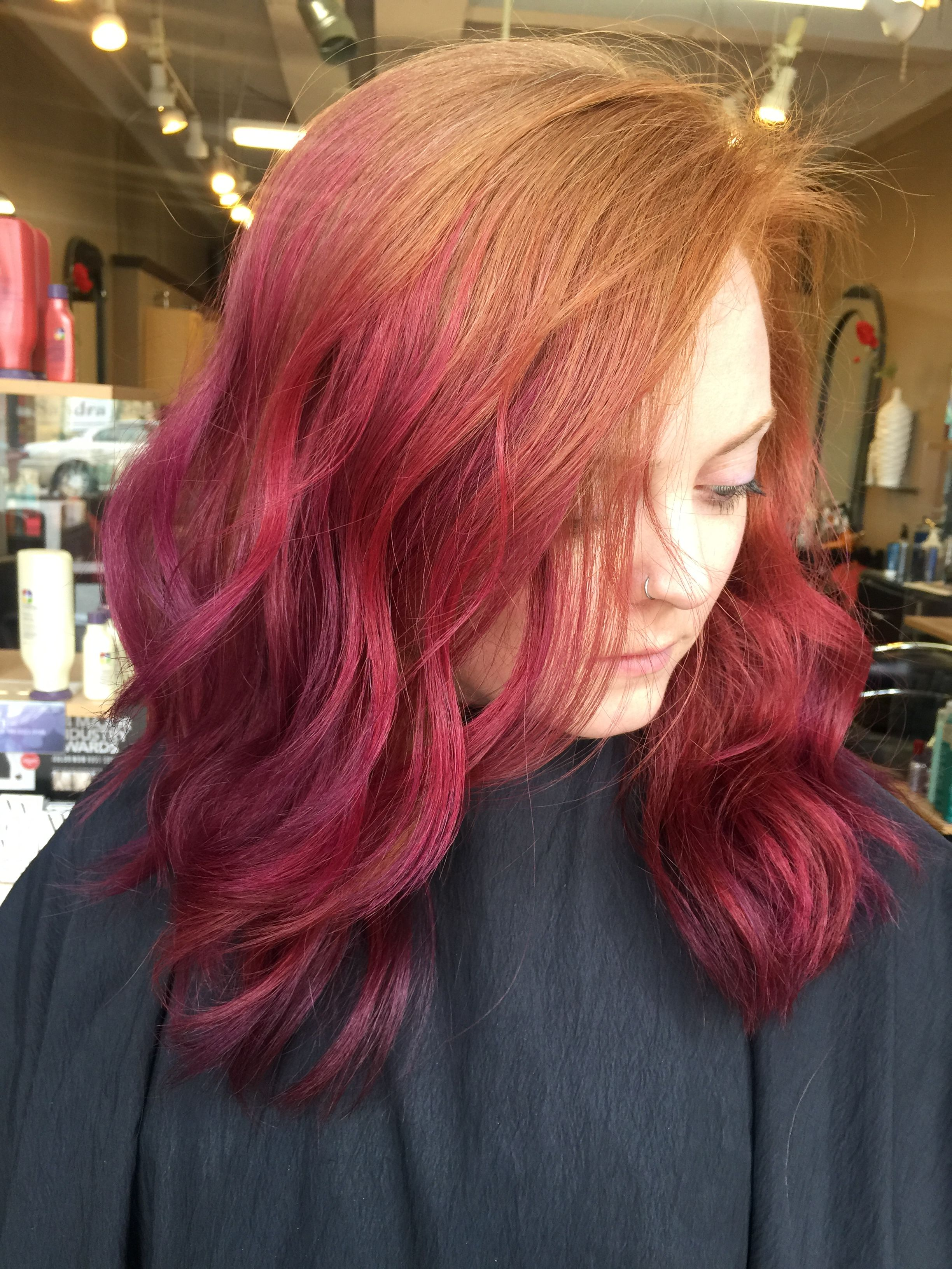 Natural Redhead With Purple And Pink Fade Natural Red Hair Dyed Hair Purple Hair Dye Tips