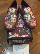 Gucci Slip On Sneakers 38 8 Pink Floral GG Logo Authentic Flat Mint Condition