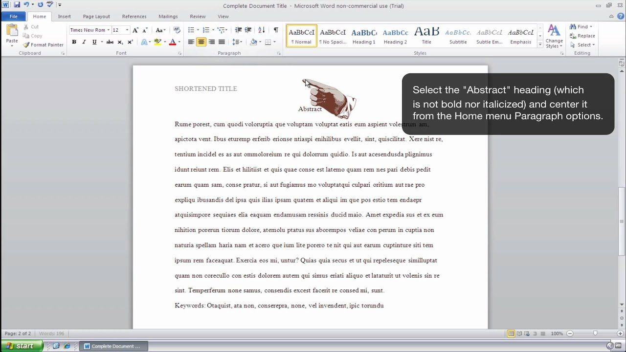 How To Format An Abstract Page In Apa Style Ms Word 2010 Windows Within Apa Template For Word 2010 Apa Template Microsoft Word 2010 Professional Templates