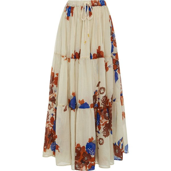 Yvonne S     Floral Drawstring Maxi Skirt (321.995 CLP) via Polyvore featuring skirts, floral, brown skirt, long drawstring skirt, long skirts, drawstring maxi skirt y floral maxi skirt