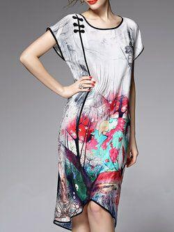 White Short Sleeve Asymmetric Midi Dress