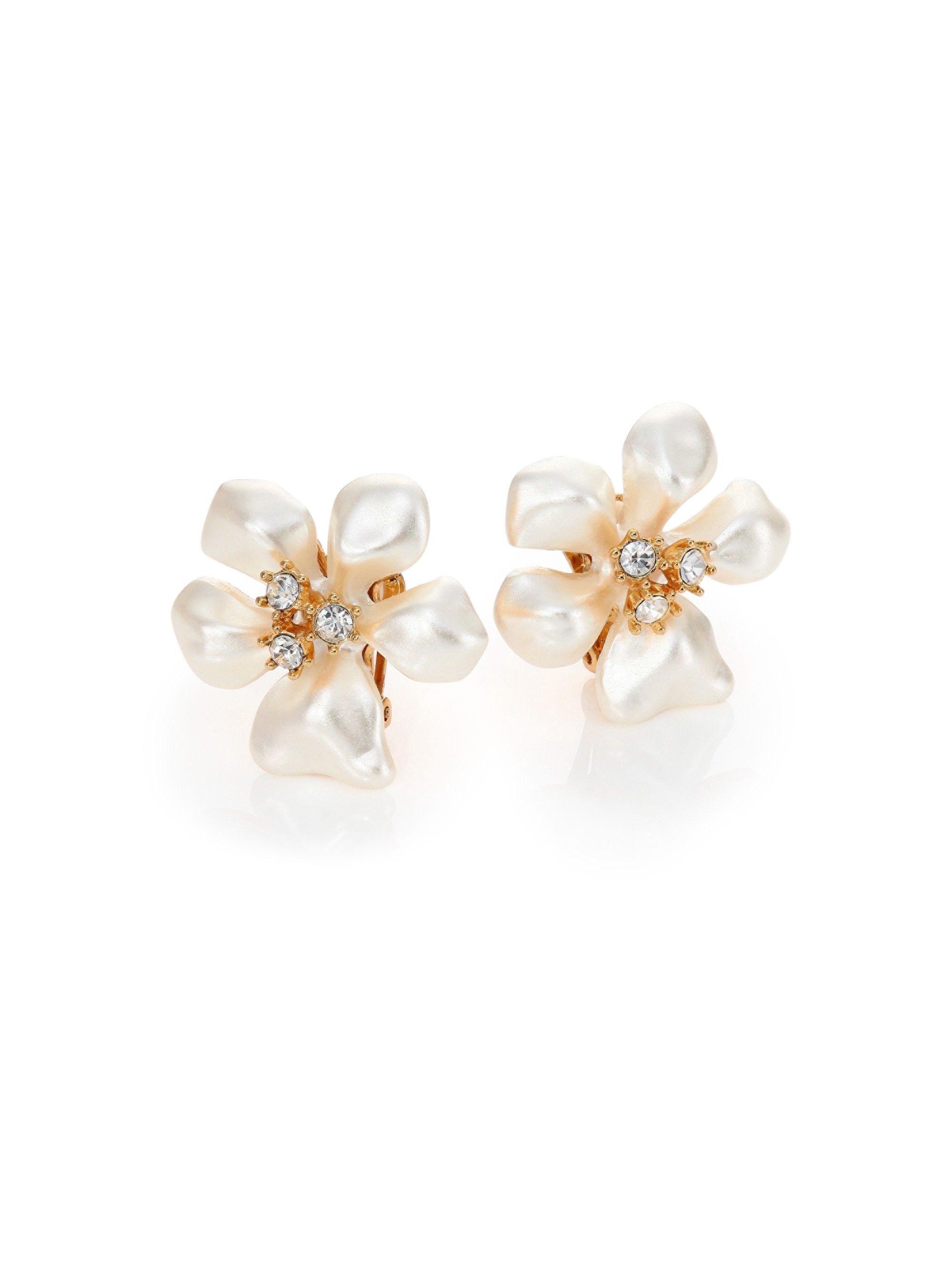 Kenneth Jay Lane Faux Pearl Crystal Flower Clip On Earrings Ivory One Size