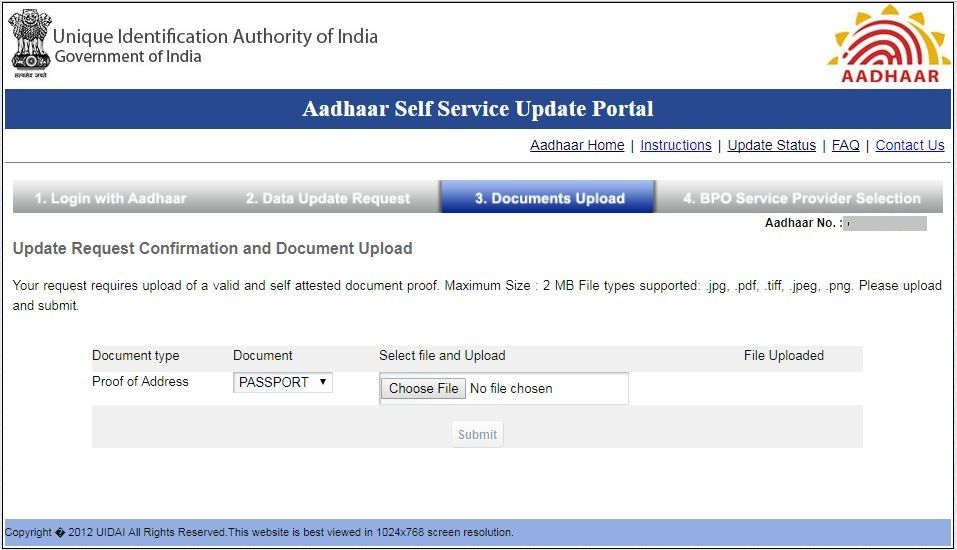 Aadhar Card Update Correction Address Name Mobile No Online