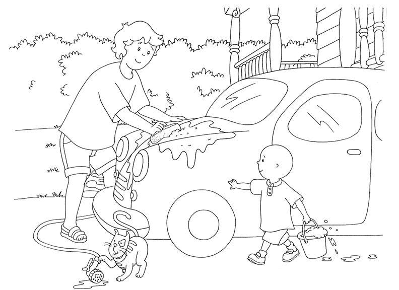 Father Son Fun! Car Wash - Printable #Caillou Coloring Sheet for ...