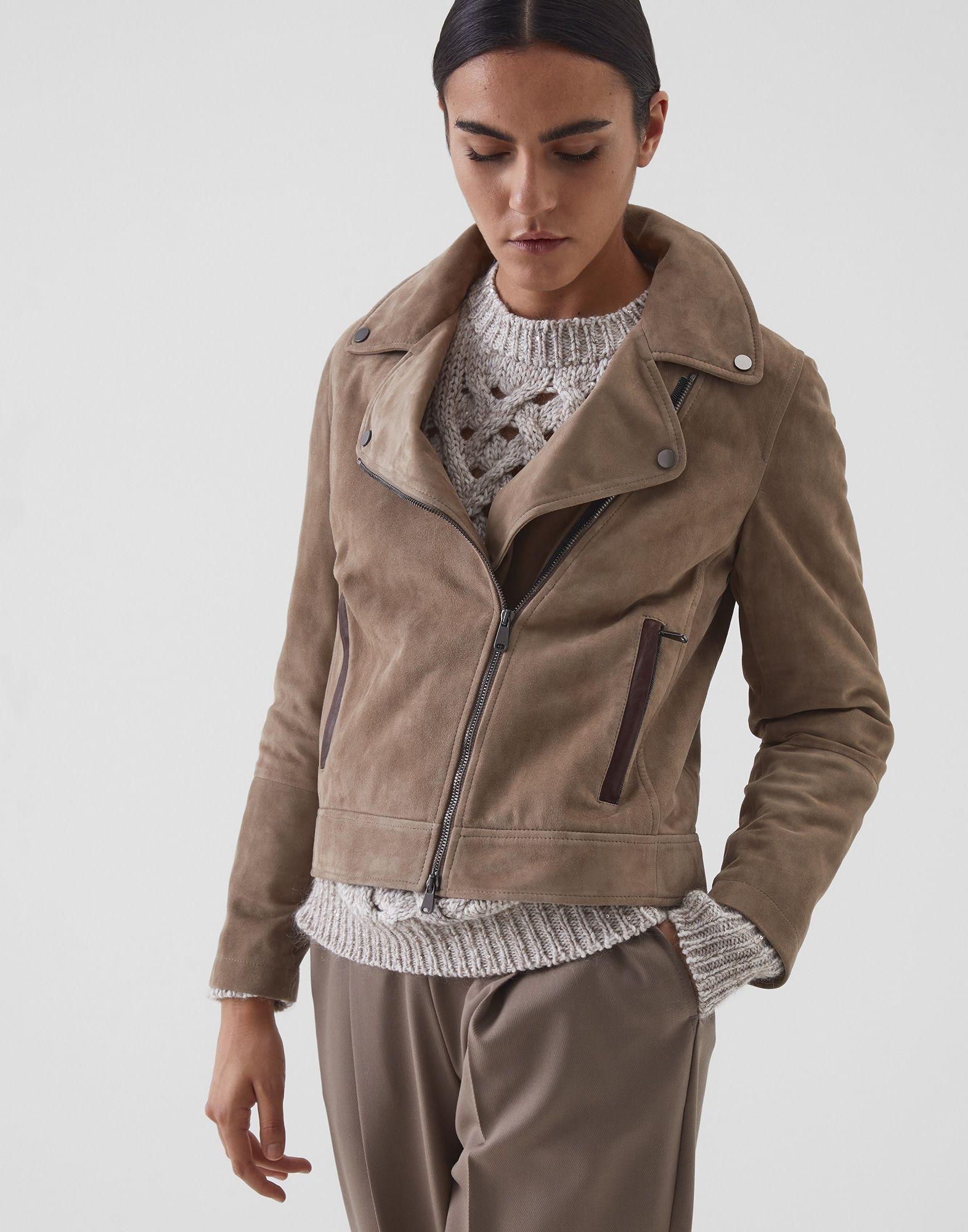 Suede Biker Jacket 202mpcai8969p For Woman Suede Biker Jacket Jackets Biker Jacket Style [ 2000 x 1571 Pixel ]