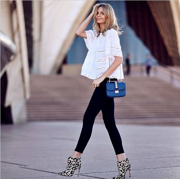 Remember this formula to knock your date off their socks. Just add a sweet blouse to skinnies, and finish with some serious statement-making...