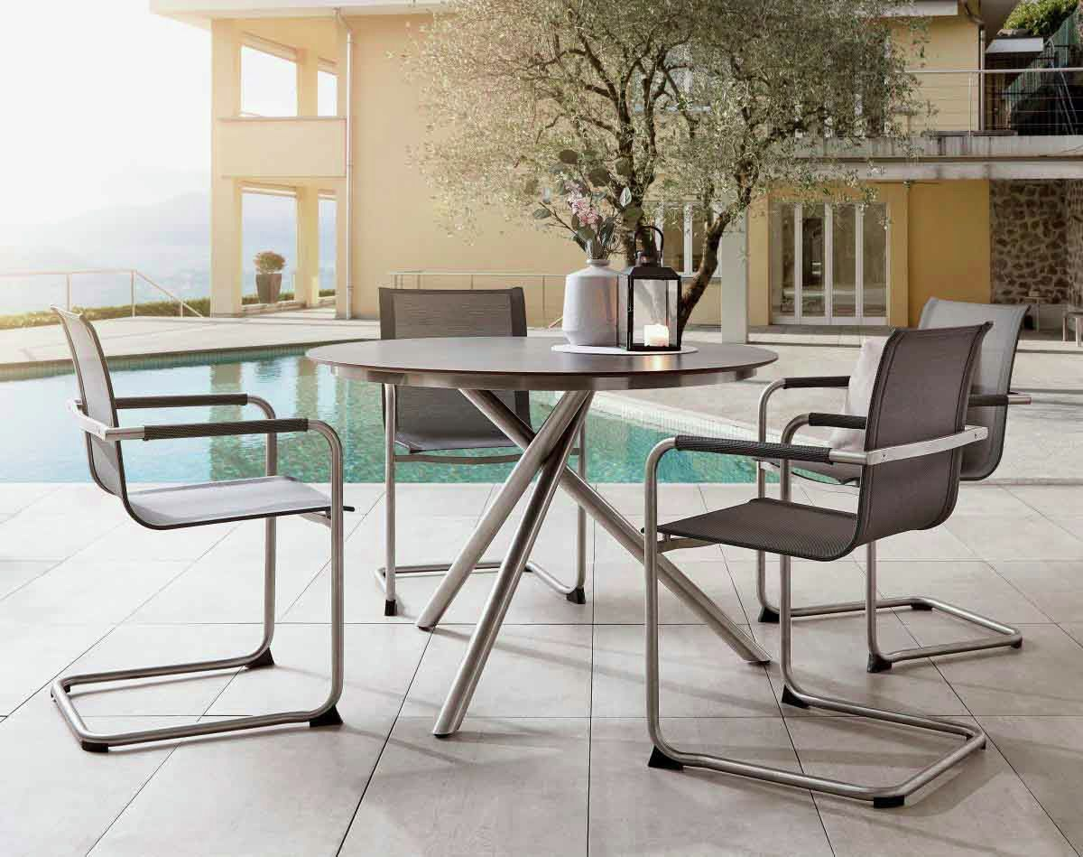 Gartentisch Rund Edelstahl Geburstet Gartenmobel Design Gartentisch Sitzgelegenheiten