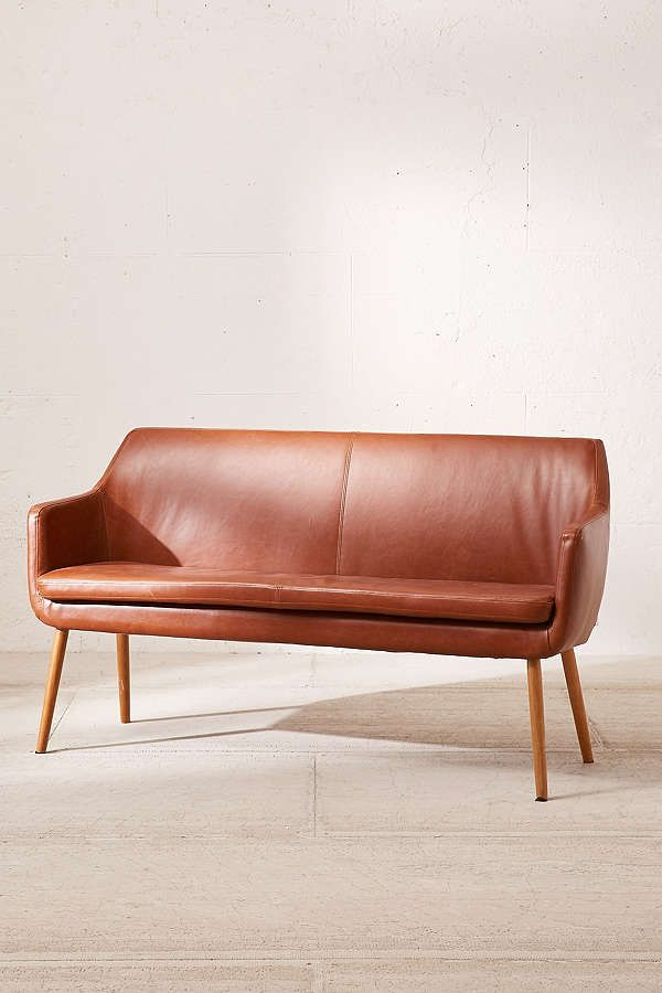 Superieur Slide View: 3: Nora Faux Leather Dining Bench