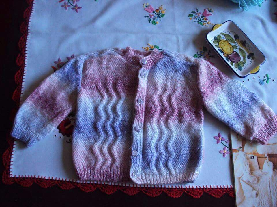 Cardigan that I knitted in1992 for my son before his birth . I didn`t know he was going to be a boy and picked up these colours :)  1992`de oğluma hamileyken, onun için ördüğüm hırka.