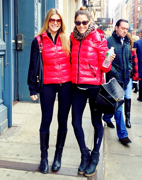 Red Moncler 'Ghany' down vest and red Moncler 'Bady' down jacket