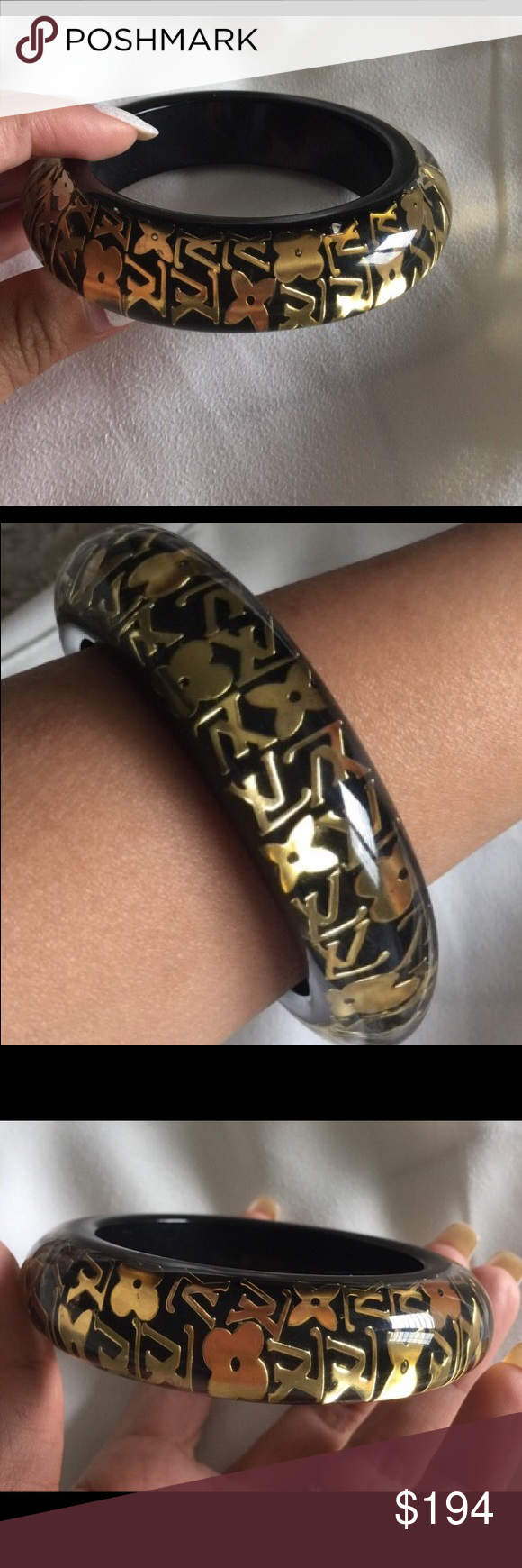 Love this lv inclusion bracelet in black u gold louis vuitton my