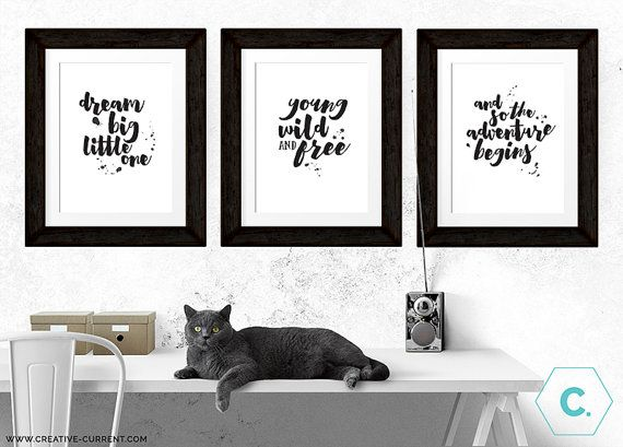 Quote prints set of 3 black and white by creativecurrentnz