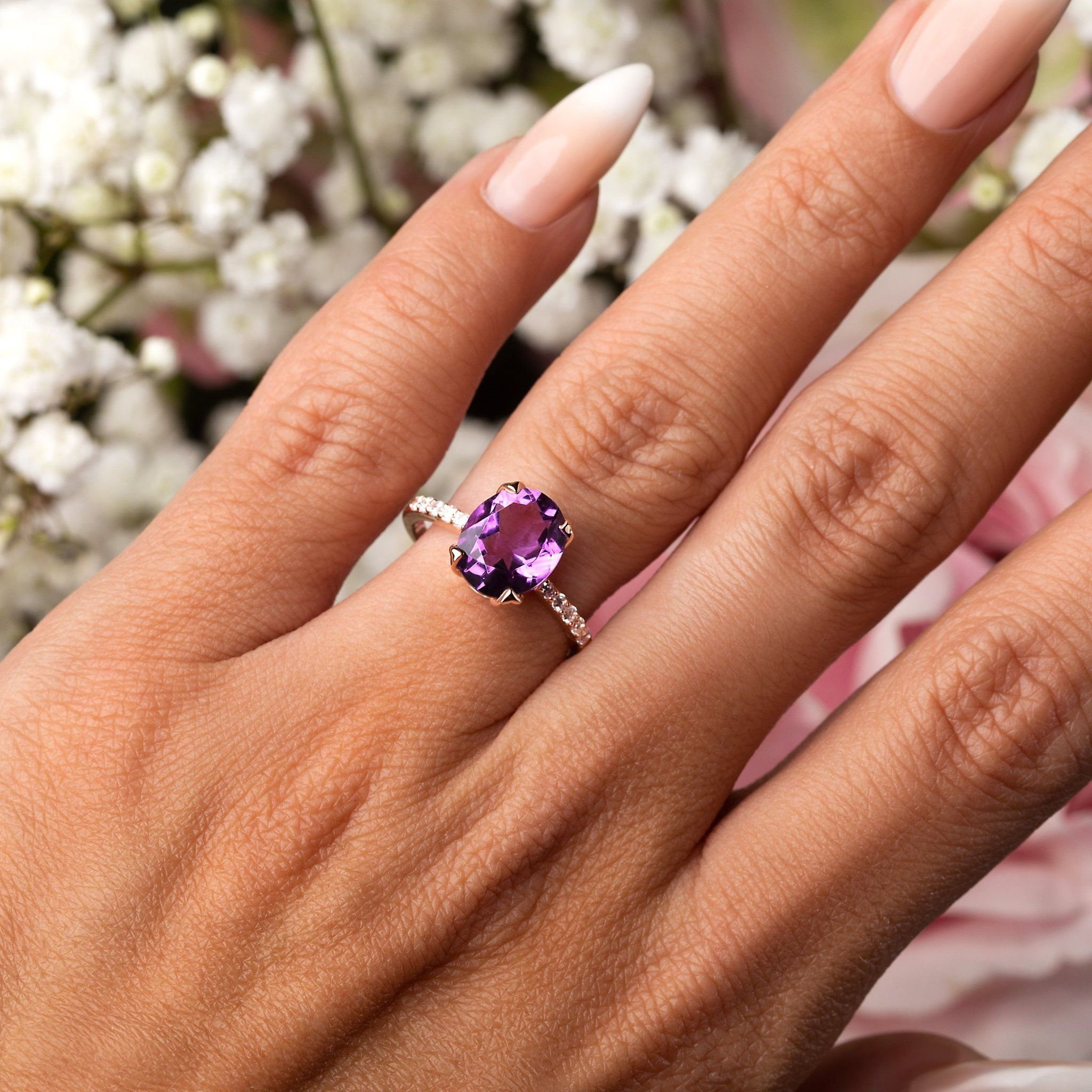 Details about  /925 Sterling Silver Amethyst and White Topaz Gemstone Halo Ring For Wedding
