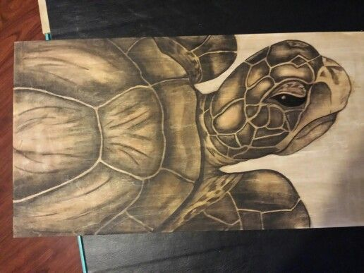 Woodstain Art Seaturtle Painting With Wood Stain Am