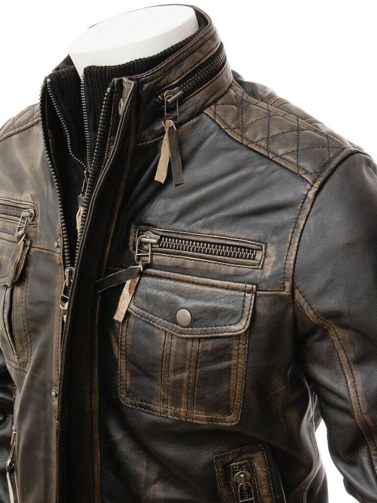 Mens Leather Jacket Vintage Distressed Biker Motorcycle Cafe Racer Real Leather