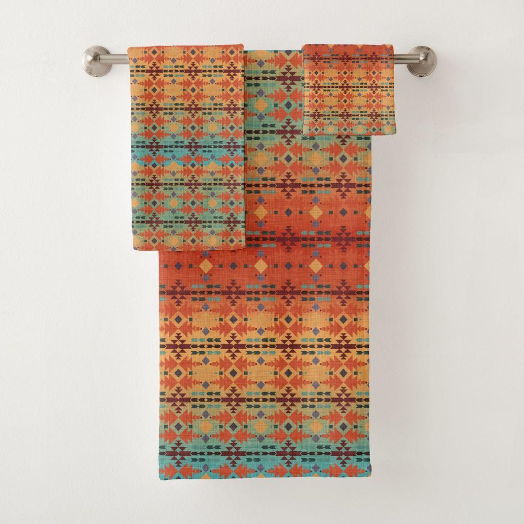 Orange Aqua Ombre Southwestern Style Bath Towel Set Zazzle Com Towel Set Southwestern Style Bath Towel Sets