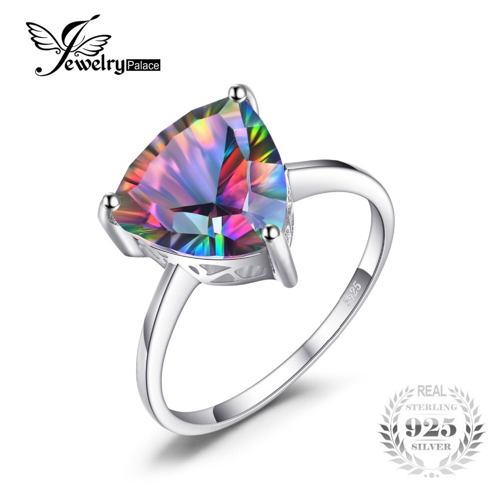 Mystic Topaz Ring Genuine Rainbow Fire Sterling Silver Rings For Women Accessory